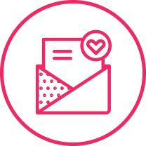 Pink email newsletter icon