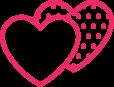2 pink love hearts