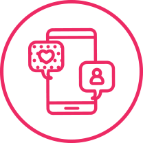 Pink social media phone icon