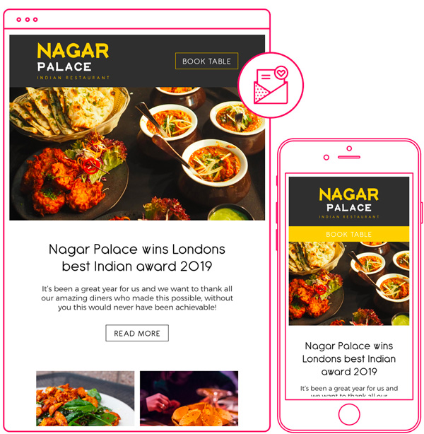 Indian restaurant email newsletter design