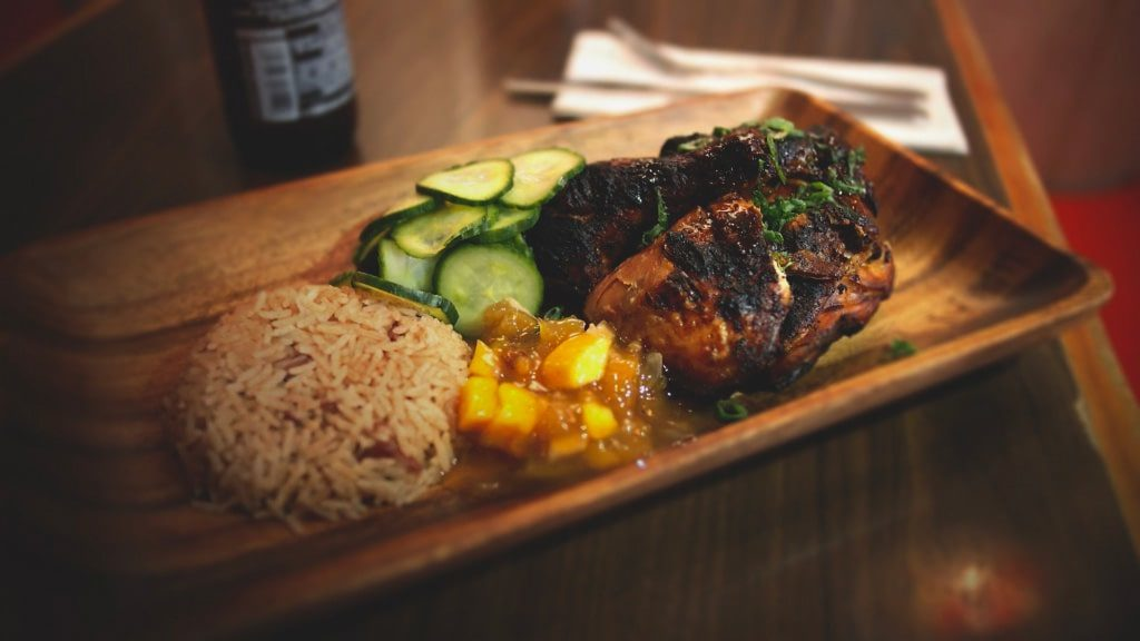 Caribbean jerk chicken and rice