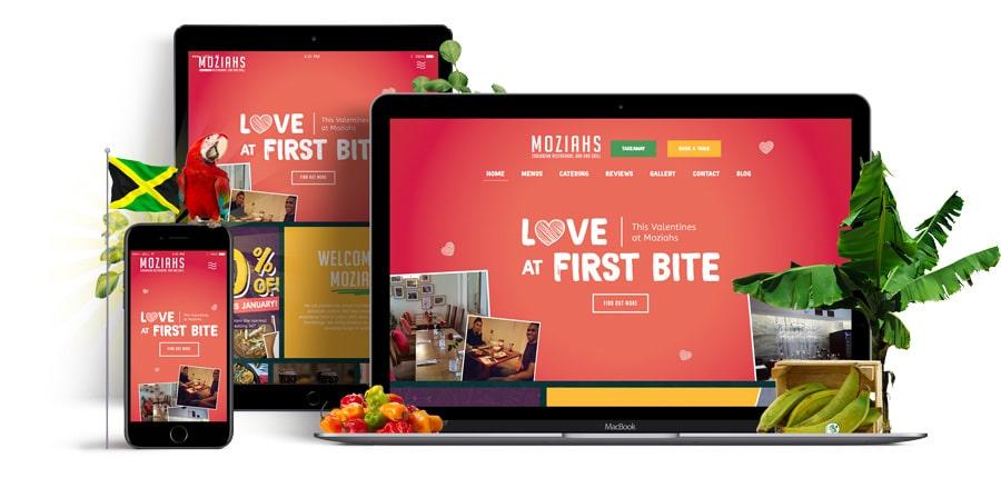 Moziahs Caribbean Restaurant Responsive website mockup