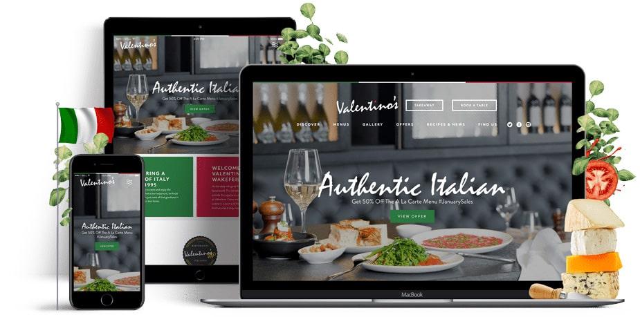 Valentinoss Italian Restaurant Responsive website mockup